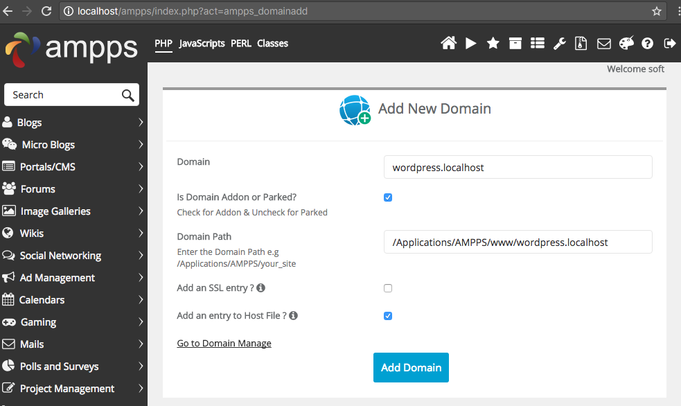 Adding a domain in AMPPS