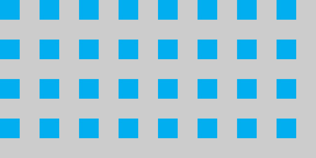 Enlarged version of what the above-described 8x8 SVG would look like repeated across a surface area. The gray color represents transparency.