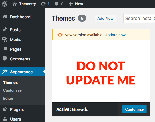 How to prevent unwanted theme updates from WordPress.org
